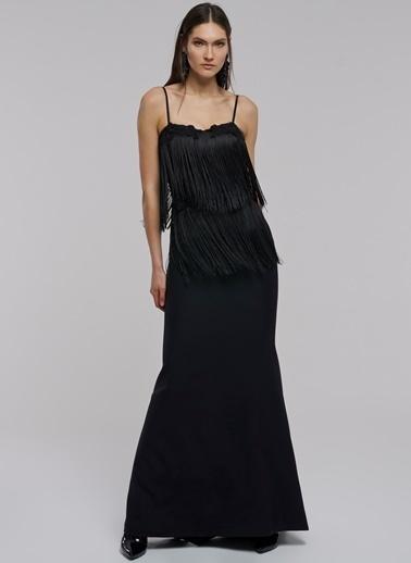 People By Fabrika Püskül Detaylı Elbise Siyah